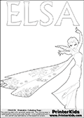 Coloring page with ELSA from the 2013 movie by DISNEY PIXAR called FROZEN (FROST in several countries as well). This coloring page for printing show Queen Elsa in full. Queen Else with the fantastic frost magic is drawn with her frozen dress on and with her long hair in the wind. The outer lines used to make this kids colouring sheet are fat to make it easier for the youngest fans to color this page! Print and color this DISNEY FROZEN ELSE page that is drawn by Loke Hansen (http://www.LokeHansen.com) based on a DISNEY FROZEN movie poster image.