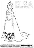 Coloring page with ELSA from the 2013 movie by DISNEY PIXAR called FROZEN (FROST in several countries as well). This coloring page for printing show Queen Else in her traditional royal robes - the dress and robe she had one when she left town after her crowning ceremony. Print and color this DISNEY FROZEN ELSE page that is drawn by Loke Hansen (http://www.LokeHansen.com) based on a DISNEY FROZEN movie poster image.