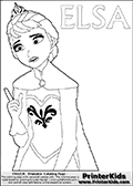 Coloring page with ELSA from the 2013 movie by DISNEY PIXAR called FROZEN (FROST in several countries as well). This coloring page for printing show Queen Elsa in her traditional royal robes - the dress and robe she had one when she left town after her crowning ceremony. Elsa is drawn pointing upwards with one finger. Print and color this DISNEY FROZEN ELSE page that is drawn by Loke Hansen (http://www.LokeHansen.com) based on a DISNEY FROZEN movie teaser clip.