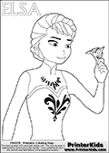 Coloring page with ELSA from the 2013 movie by DISNEY PIXAR called FROZEN (FROST in several countries as well). This coloring page for printing show Queen Elsa in her traditional royal robes - the dress and robe she had one when she left town after her crowning ceremony. Elsa is drawn as she is about to throw her royal crown ( Tiara or Diadem ) into the snow after leaving town. Print and color this DISNEY FROZEN ELSE page that is drawn by Loke Hansen (http://www.LokeHansen.com) based on a DISNEY FROZEN movie teaser clip.