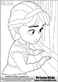 Coloring page with ELSA from the 2013 movie by DISNEY PIXAR called FROZEN (FROST in several countries as well). This coloring page for printing show young princess Elsa in her room. Elsa is looking out the window. Print and color this DISNEY FROZEN ELSE page that is drawn by Loke Hansen (http://www.LokeHansen.com) based on a DISNEY FROZEN movie teaser clip.