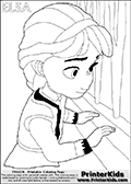 Coloring page with ELSA from the 2013 movie by DISNEY PIXAR called FROZEN (FROST in several countries as well). This coloring page for printing show young princess Elsa in her room. Print and color this DISNEY FROZEN ELSE page that is drawn by Loke Hansen (http://www.LokeHansen.com) based on a DISNEY FROZEN movie teaser clip.