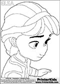 Coloring page with ELSA from the 2013 movie by DISNEY PIXAR called FROZEN (FROST in several countries as well). This coloring page for printing show young princess Elsa up close. Print and color this DISNEY FROZEN ELSE page that is drawn by Loke Hansen (http://www.LokeHansen.com) based on a DISNEY FROZEN movie teaser clip.