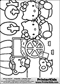 Coloring page with Hello Kitty. This Hello Kitty Colouring page to print show the cute character with several of her friends enjoying popcorn. The Helly Kitty coloring sheet show Hello Kitty and four of her friends that can be colored. There is also a colorable popcorn stand or popcorn machine and a few trees that can be colored.