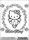 Coloring page with Hello Kitty. This printable coloring page show Hello Kitty as a cute Ballerine that is dancing inside a frame of cute rose-like flowers. This Hello Kitty coloring page to print is extremely cute and include an abundance of flowers.
