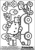 Coloring page with Hello Kitty. This colouring sheet show Hello Kitty and one of her Teddy bear friends in a car outside a small town. Hello Kitty and her friend is waving to another of Hello Kittys friends, a mouse on a scooter. The printable colouring sheet is made so that Hello Kitty can be colored along with her Teddy friend and the car they are sitting in. The town behind Hello Kitty can also be colored, and the mouse-friend they are waving to can be colored along with the scooter she is sitting on.