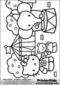 Coloring page with Hello Kitty. This printable colouring sheet show Hello Kitty and her Teddy bear friend outside a circus tent close to an Elephant. The colorable Hello Kitty and her Teddy Bear friend has some ice cream and candy, and the colorable Elephant is standing on a small round object with balancing poles in its trunk. The colorable circus tent has a small flag on the top, and Hello Kitty is wearing a cute blouse with a large flower in the middle that can be colored as well. In the background some large bushes or trees are visible for coloring as well.
