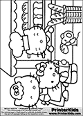 Coloring page with Hello Kitty. This printable colouring sheet show Hello Kitty at the baker. The colorable Hello Kitty is standing with a bag out bread and fruits in front of the baker. The colorable baker is standing behind his counter with many types of bread available in the shop for coloring as well. Besides Hello Kitty, the coloring page has two similar characters and a small mouse that can be colored.