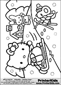 Coloring page with Hello Kitty. This printable coloring page show a winter scene where Hello Kitty is sledging in the snow. One of her friends is waving in the background close to a nice house, and another is skiing close to Hello Kitty. The coloring page has large snow flakes that are easy to color in addition to the colorable Hello Kitty and friends characters. The small house in the background, the sledge and the ski can also be colored.
