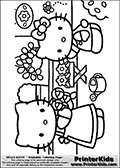 Coloring page with Hello Kitty. This printable colouring sheet show Hello Kitty outside gardening with an older friendly character. The two colorable Hello Kitty characters are working with flowers. Several different flowers are available for coloring in addition to the colorable Hello Kitty charactesr and a bee that is flying in the air.