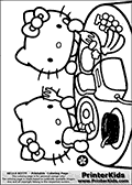 Coloring page with Hello Kitty. This printable colouring sheet show Hello Kitty and one of her friends enjoying breakfast. The two are enjoying grapes, toast, eggs and bananas. The coloring print is made so that everything from the toaster machine to the grape cluster can be colored. Hello Kitty and her friend can of course be colored as well.