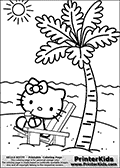 Printable colouring sheet with Hello Kitty. Hello Kitty is sitting in a nice beach chair on a paradise island drinking a snowcone with a straw. The island has a large palm tree and the sun is shining bright on the sky. The water surrounding the island that Hello Kitty is relaing on is calm, and the entire scene looks very calming and enjoyable.