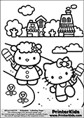 Printable colouring sheet with Hello Kitty. Hello Kitty and one of her friends are having fun outside while enjoying a popsicle. The two are standing on a path outside town with a popsicle in one hand. The town in the background show flower shop and a bakery. The surrounding environment has several flowers and trees that can be colored as well.