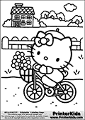 Printable colouring sheet with Hello Kitty. Hello Kitty is Bicycling with Flowers on a small path by a fence close to a small cosy house. Hello Kitty has a small summer hat on while riding her bike.