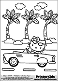 Printable colouring sheet with Hello Kitty. Hello Kitty is sitting in a classic card with a pair of glasses on her forehead. She is sitting in the car waving and has her dotted dress on. Several palm trees can be seen in the background that can be colored as well.