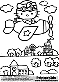 Printable colouring sheet with Hello Kitty. Hello Kitty is flying in a simple airplane above town with a pair of glasses on her forehead. Below Hello Kitty and the plane, the town is shown with a flower shop and a bakery. The airplane has a star on the visible wing. Hello Kitty has a scarf on as accessory.