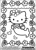 Printable colouring sheet with Hello Kitty. Hello Kitty is shown as a mermaid on this coloring page. Hello Kitty is surrounded by cute flowers  that form a frame around her. Instead of her traditional cloth, Hello Kitty is wearing flowers as cloth and accessories. Two small fish are swimming next to Hello Kitty that can be colored as well.