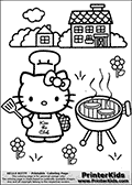 Printable colouring sheet with Hello Kitty. Hello Kitty is standing in an impressive Chef outfit in front of a Grill outside. Hello Kitty is preparing for a nice barbecue with two steaks on the grill. Hello Kitty is holding a spatula in one hand and has a grill glove on the other hand. Hello Kitty is surrounded by flowers. A cosy house with trees and bushes can be seen in the background.