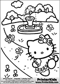 Printable colouring sheet with Hello Kitty. Hello Kitty is dancing around in a park close to a lovely fountain. The park is filled with butterflies and flowers. Hello Kitty is wearing a unique dress in this coloring page.