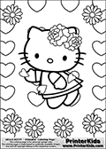 This is a Coloring sheet with Hello Kitty that can be printed. Hello Kitty is shown standing surrounded by flowers and hearts that form a frame around her. Hello Kitty has lovely colorable flowers on her head as well, and small hearts appear to be floating around her.