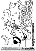 This is a Coloring sheet with Hello Kitty that can be printed. Hello Kitty is standing in a nice Halloween outfit in front of a pumpkin field filled with hallowwen pumpking. The Hello Kitty Halloween coloring page has everything from ghosts and bats to cut pumpins for kids to enjoy.