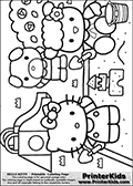 This is a Coloring sheet with Hello Kitty that can be printed. Hello Kitty is playing in a sandbox with one of her friends. A small sand castle can be seen in the sandbox that is part of a larger playground. Behind the two friends, a slide can be seen an another of Hello Kittys friends. The playground has several bushes and flowers that can be colored as well.