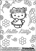 This is a Coloring sheet with Hello Kitty that can be printed. Hello Kitty is standing surrounded by an abundance of flowers looking very innocent in a cute summer dress. Hello Kitty has several flowers in her hair / on her head.