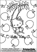 This is a Coloring sheet with Hello Kitty that can be printed. Hello Kitty is sitting with her eyes closed looking all dreamy while swinging on a wonderful flowey swing. She is surrounded by large apples