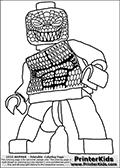 Coloring page with a Lego variant of the DC Comics character called Killer Croc from the Batman universe. This printable colouring sheet show the Lego Killer Croc character in a frontal pose. The printable Lego Batman character has a unique suit drawn with dozens of scaled that can be colored. Print and color this Lego Batman page that is drawn by Loke Hansen (http://www.LokeHansen.com) based on a Lego Batman figure image.