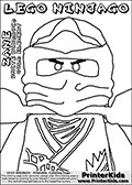 Coloring page with the head and chest of ZANE from the popular LEGO NINJAGO series. This coloring print has the text LEGO NINJAGO ZANE WHITE NINDROID COLD ELEMENT written with colourable letters in addition to the coloring LEGO NINJAGO ZANE character. Print and color this LEGO NINJAGO page that is drawn by Loke Hansen (http://www.LokeHansen.com) based on the popular LEGO NINJAGO series and figures.