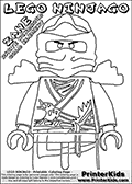 Coloring page with the ZANE from the popular LEGO NINJAGO series drawn from the figure knees and up. This coloring print has the text LEGO NINJAGO ZANE WHITE NINDROID COLD ELEMENT written with colourable letters in addition to the coloring LEGO NINJAGO ZANE character. Print and color this LEGO NINJAGO page that is drawn by Loke Hansen (http://www.LokeHansen.com) based on the popular LEGO NINJAGO series and figures.