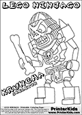 Coloring page with KRUNCHA from the popular LEGO NINJAGO series. This coloring print has the text LEGO NINJAGO KRUNCHA SKELETON written with colourable letters in addition to the colorable LEGO NINJAGO KRUNCHA character. Print and color this LEGO NINJAGO page that is drawn by Loke Hansen (http://www.LokeHansen.com) based on the popular LEGO NINJAGO series and figures.