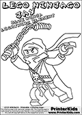 Coloring page with JAY from the popular LEGO NINJAGO series drawn with a NUNCHUCK weapon. This coloring print has the text LEGO NINJAGO JAY BLUE NINJA LIGHTNING ELEMENT written with colourable letters in addition to the colorable LEGO NINJAGO JAY character. Print and color this LEGO NINJAGO page that is drawn by Loke Hansen (http://www.LokeHansen.com) based on the popular LEGO NINJAGO series and figures.