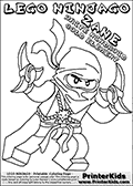 Coloring page with ZANE from the popular LEGO NINJAGO series, dawn with a shuriken in both hands. This coloring print has the text LEGO NINJAGO ZANE WHITE NINDROID COLD ELEMENT written with colourable letters in addition to the coloring LEGO NINJAGO ZANE character. Print and color this LEGO NINJAGO page that is drawn by Loke Hansen (http://www.LokeHansen.com) based on the popular LEGO NINJAGO series and figures.