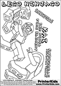Coloring page with KAI from the popular LEGO NINJAGO series drawn beating up a gang of HYPNOBRAI villains. This coloring print has the text LEGO NINJAGO KAI RED NINJA FIRE ELEMENT and HYPNOBRAI SERPENTINE VILLAIN written with colourable letters in addition to the colorable LEGO NINJAGO KAI and SERPENTINE characters. Print and color this LEGO NINJAGO page that is drawn by Loke Hansen (http://www.LokeHansen.com) based on the popular LEGO NINJAGO series and figures.
