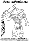 Coloring page with the WYPLASH from the popular LEGO NINJAGO series. This coloring print has the text LEGO NINJAGO WYPLASH SKELETON written with colourable letters in addition to the colorable LEGO NINJAGO WYPLASH character. Print and color this LEGO NINJAGO page that is drawn by Loke Hansen (http://www.LokeHansen.com) based on the popular LEGO NINJAGO series and figures.