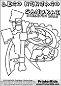 Coloring page with SAMUKAI from the popular LEGO NINJAGO series. This coloring print has the text LEGO NINJAGO SAMUKAI SKELETON BOSS written with colourable letters in addition to the colorable LEGO NINJAGO SAMUKAI character. Print and color this LEGO NINJAGO page that is drawn by Loke Hansen (http://www.LokeHansen.com) based on the popular LEGO NINJAGO series and figures.
