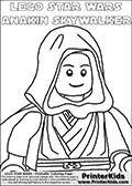 This printable coloring page has a Lego Star Wars Anakin Skywalker Boy (young Anaking Skywalker) character drawn in a simple robe with a cloak. Anakin is drawn walking with a smile on his face and can be colored from the waist and up. This printable colouring page has a colorable text above the Boy variant of Anakin Skywalker as a Lego Star Wars figure. The text has a Star Wars like style and the words: LEGO STAR WARS ANAKIN SKYWALKER. Print and color this LEGO Star Wars page that is drawn by Loke Hansen (http://www.LokeHansen.com) based on the popular LEGO StAR WARS games and figures. This Lego Star Wars Young Anakin Skywalker colouring sheet is a scaled and clipped version of a similar page that offer larger coloring areas. Larger areas are easier to color for the youngest Lego Star Wars fans