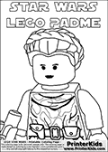 This colouring sheet for printing show a Lego Star Wars Padme Amidala character drawn in a camouflage warrior chest holding a gun. Padme Amidala is drawn close-up from the chest and up so that the face can be colored in detail. This coloring sheet for printing is made with a text above Padme Amidalaa head for coloring. The text has a Star Wars style and the words: STAR WARS LEGO PADME. Print and color this LEGO Star Wars page that is drawn by Loke Hansen (http://www.LokeHansen.com) based on the popular LEGO StAR WARS games and figures.