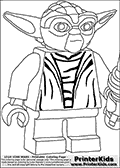 Coloring page with a Lego Yoda figure that is drawn standing ready for battle with a lightsaber in his left hand. The Lego Yoda colouring sheet for printing has the Star Wars character drawn with striped camouflage like chest piece. The Closeup Battle Ready Lego Yoda coloring page is made with Lego figure filling almost the entire A4 sized sheet, clipped so that the lego figure is larger and so that only some of it is available on the sheet. Print and color this LEGO Star Wars page that is drawn by Loke Hansen (http://www.LokeHansen.com) based on the popular LEGO StAR WARS games and figures.