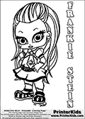 Coloring page with Frankie Stein from Monster High. This printable colouring sheet show a cute baby or chibi version of Frankie Stein in a frontal pose. The Frankie Stein Monster High Baby colouring page is drawn by JadeDragonne ( http://jadedragonne.deviantart.com/ ) and made available for use with credit! Frankie Stein from Monster High is a smart blonde frankensteins monster humanoid character. The printable page has a colorable FRANKIE STEIN text that is shown in all upper case letters next to the cute representation of the Monster High character.
