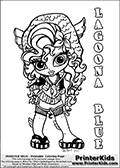 Coloring page with Lagoona Blue from Monster High. This printable colouring sheet show a cute baby or chibi version of Lagoona Blue in a frontal pose. The Lagoona Blue Monster High Baby colouring page is drawn by JadeDragonne ( http://jadedragonne.deviantart.com/ ) and made available for use with credit! Lagoona Blue from Monster High is a mermaid monster humanoid character. The printable page has a colorable LAGOONA BLUE text that is shown in all upper case letters next to the cute representation of the Monster High character.