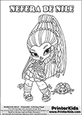 Coloring page with Nefera De Nile from Monster High. This printable colouring sheet show a cute baby or chibi version of Nefera De Nile in a frontal pose with her pet scarab. The Nefera De Nile Monster High Baby colouring page is drawn by JadeDragonne ( http://jadedragonne.deviantart.com/ ) and made available for use with credit! Nefera De Nile from Monster High is a smart mummy monster humanoid character, and the elder sister of Cleo De Nile. The printable page has a colorable NEFERA DE NILE text that is shown in all upper case letters next to the cute representation of the Monster High character.