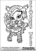 Coloring page with Clawdeen Wolf from Monster High. This printable colouring sheet show a cute baby or chibi version of Clawdeen Wold standing with her nails ready to scratch!. The Clawdeen Wold Monster High Baby colouring page is drawn by JadeDragonne ( http://jadedragonne.deviantart.com/ ) and made available for use with credit! Clawdeen Wold from Monster High is a wolf-woman / werewolf themed monster humanoid character. The printable page has a colorable CLAWDEEN WOLD text that is shown in all upper case letters next to the cute representation of the Monster High character.
