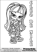 Coloring page with Cleo De Nile from Monster High. This printable colouring sheet show a cute baby or chibi version of Cleo De Nile - Younger sister of Nefera De Nile and girlfriend of Deuce Gorden. The Cleo De Nile Monster High Baby colouring page is drawn by JadeDragonne ( http://jadedragonne.deviantart.com/ ) and made available for use with credit! Cleo De Nile from Monster High is a smart mummy / pharao / cleopatra themed monster humanoid character. The printable page has a colorable CLEO DE NILE text that is shown in all upper case letters next to the cute representation of the Monster High character.