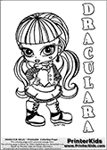 Coloring page with Draculara from Monster High. This printable colouring sheet show a cute baby or chibi version of Draculara from Monster High. The Draculara Monster High Baby colouring page is drawn by JadeDragonne ( http://jadedragonne.deviantart.com/ ) and made available for use with credit! Draculara from Monster High is a vampire themed monster humanoid character. The printable page has a colorable DRACULARA text that is shown in all upper case letters next to the cute representation of the Monster High character.
