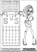 Coloring and letter practice page with Frankie Stein from Monster High. Practice drawing, writing and coloring the letter S in different shapes and sizes. Customize the FRANKIE STEIN letters and have fun with the coloring page while practicing on the tricky letter S.  This printable colouring sheet show Frankie Stein with a short and fresh haircut and a summer outfit somewhat similar to what you might see Cleo De Nile in. This Frankie Stein Monster High colouring page appear to be drawn by elfkena ( http://elfkena.deviantart.com/ ). It has been made available for free download and printing via the artist deviant art url, squidoo pages and several monster high fan pages. Frankie Stein from Monster High is a smart blonde frankensteins monster themed humanoid female character.