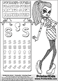 Monster High - Frankie Stein (dawn of the dance outfit) - Letter S and Coloring Page