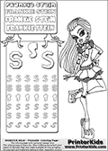 Coloring and letter practice page with Frankie Stein from Monster High. Practice drawing, writing and coloring the letter S in different shapes and sizes. Customize the FRANKIE STEIN letters and have fun with the coloring page while practicing on the tricky letter S.  This printable colouring sheet show Frankie Stein standing with one leg bent, while wearing a cute and innocent summer dress. This Frankie Stein Monster High colouring page appear to be drawn by elfkena ( http://elfkena.deviantart.com/ ). It has been made available for free download and printing via the artist deviant art url, squidoo pages and several monster high fan pages. Frankie Stein from Monster High is a smart frankensteins monster themed humanoid female character, that is the daughter of Dr. Frankensteins monster and his bride.