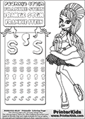 Coloring and letter practice page with Frankie Stein from Monster High. Practice drawing, writing and coloring the letter S in different shapes and sizes. Customize the FRANKIE STEIN letters and have fun with the coloring page while practicing on the tricky letter S.  This printable colouring sheet show Frankie Stein in her sweet 1600 costume, with a coffin themed present in her hands. This Frankie Stein Monster High colouring page appear to be drawn by elfkena ( http://elfkena.deviantart.com/ ). It has been made available for free download and printing via the artist deviant art url, squidoo pages and several monster high fan pages. Frankie Stein from Monster High is a smart frankensteins monster themed humanoid female character, that is the daughter of Dr. Frankensteins monster and his bride.